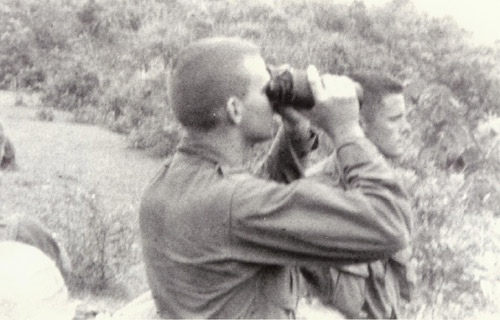 Marine Lt.. Mallon (L) and Lt. Black (R) Preparing Night-time Attack Against Viet Cong Forces Near Nui Loc Son, Vietnam.